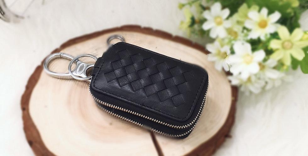 手工編織羊皮鎖匙包(黑色)