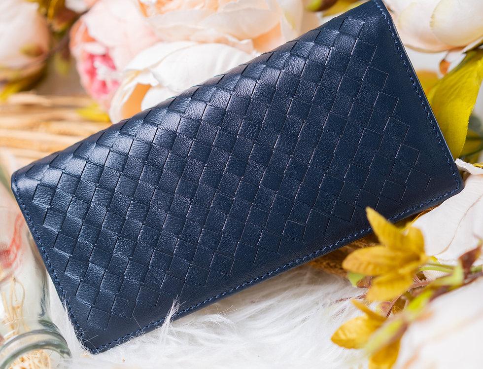 手工編織羊皮長形錢包(深藍色)