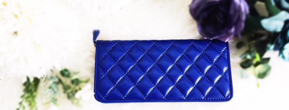 菱格車縫羊皮錢包(藍色)