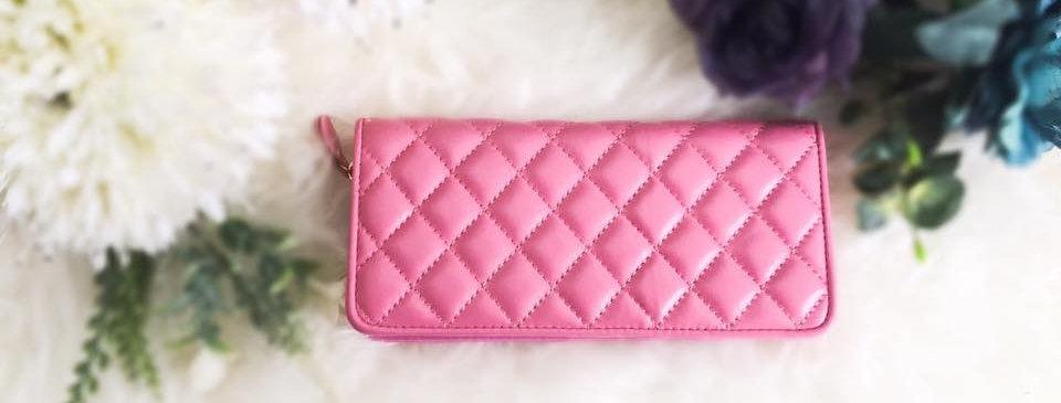 菱格車縫羊皮錢包(粉紅色)