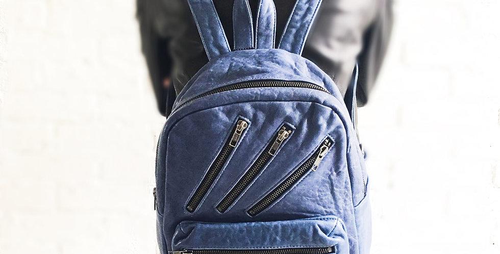 """""""2021限時優惠""""多拉鏈裝飾羊皮背包(藍色)"""