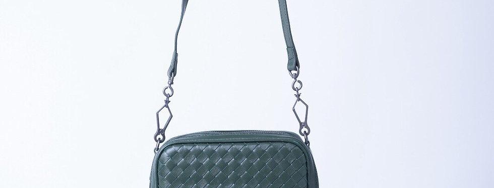 手工編織設計款斜背真皮包