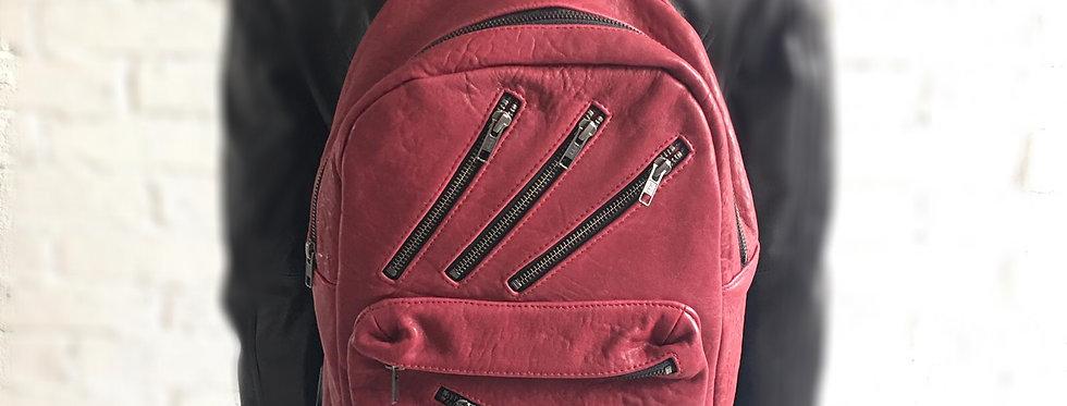 多拉鏈裝飾羊皮背包(紅色)