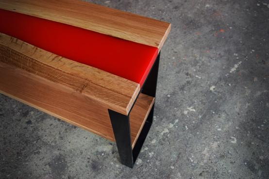 Création meuble bois, résine & métal