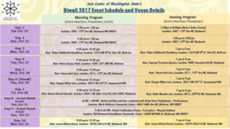 Paryushan event schedule