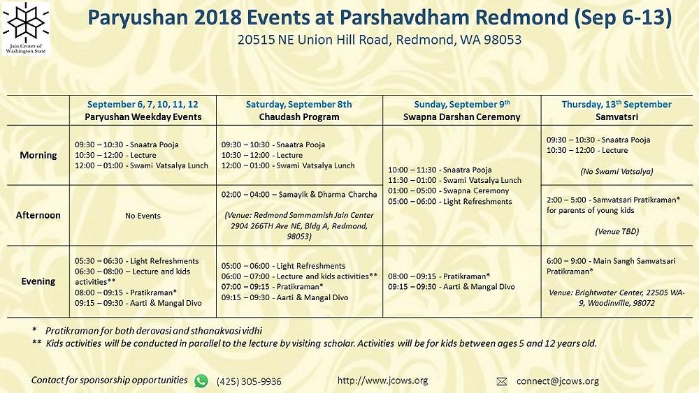 Hiteshbhai Shah in Seattle Detailed Event Schedule