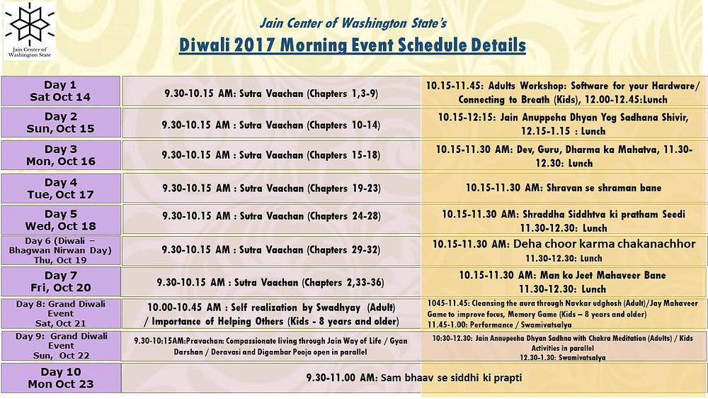 JCOWS Diwali 2017 Morning Event Scheduled