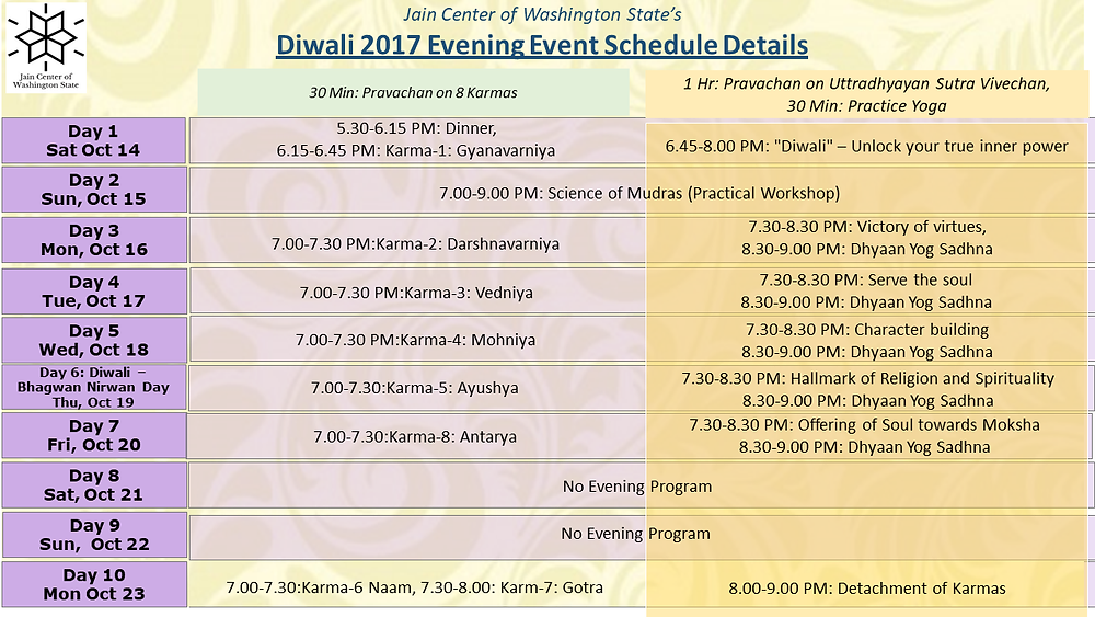 JCOWS Diwali 2017 Evening Event Scheduled