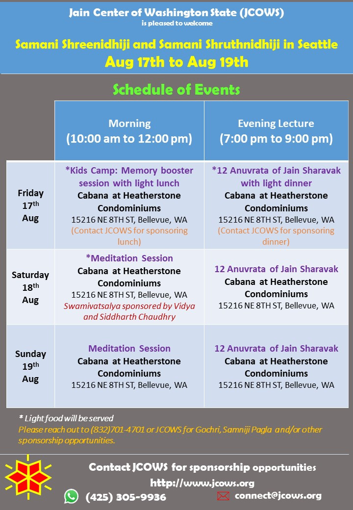 Jain Samaniji in Seattle Detailed Event Schedule