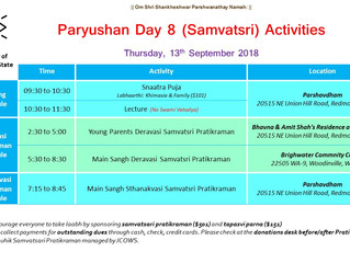 Paryushan 2018 Event Details (September 6th -13th)
