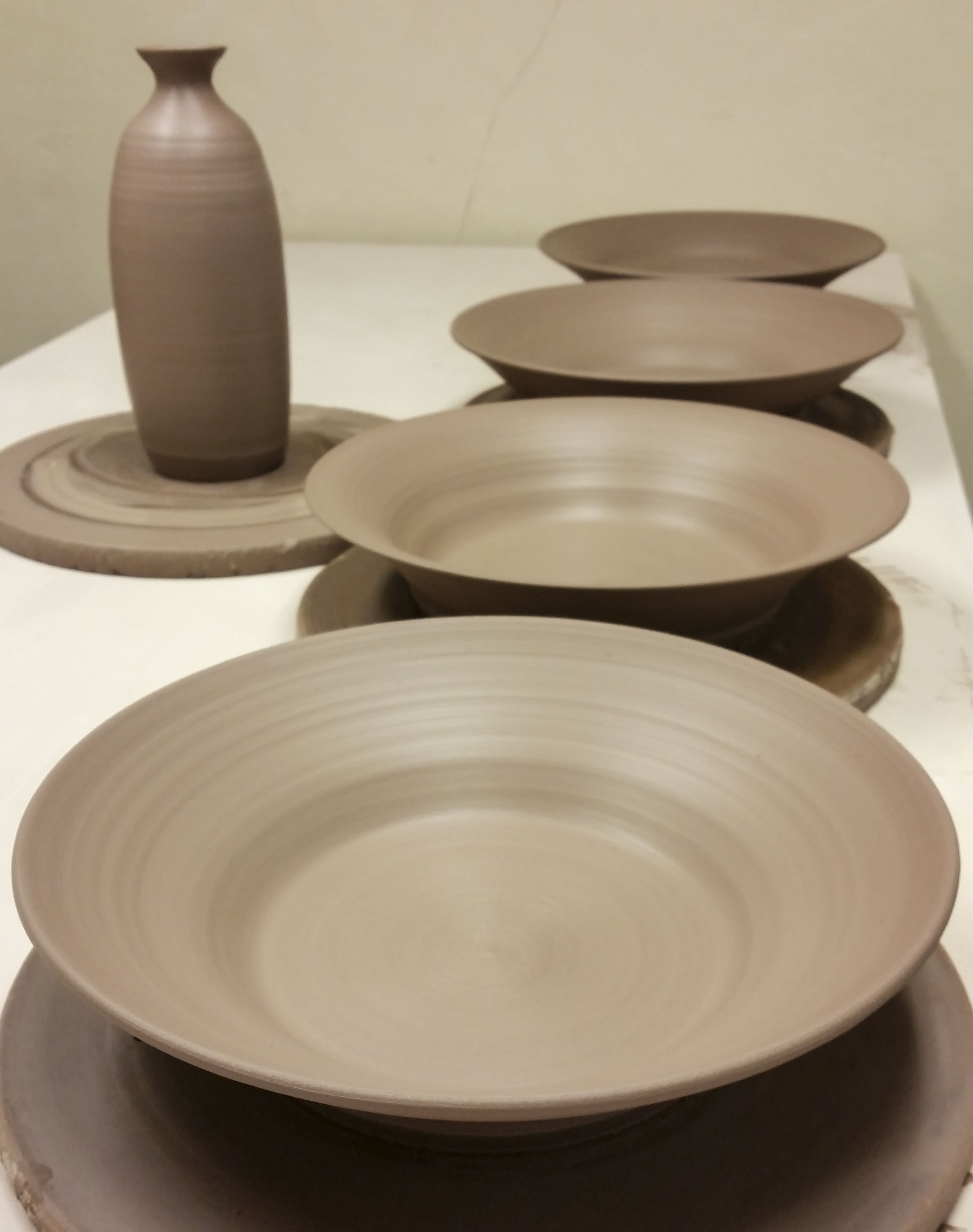 Greenware Platter Bowls