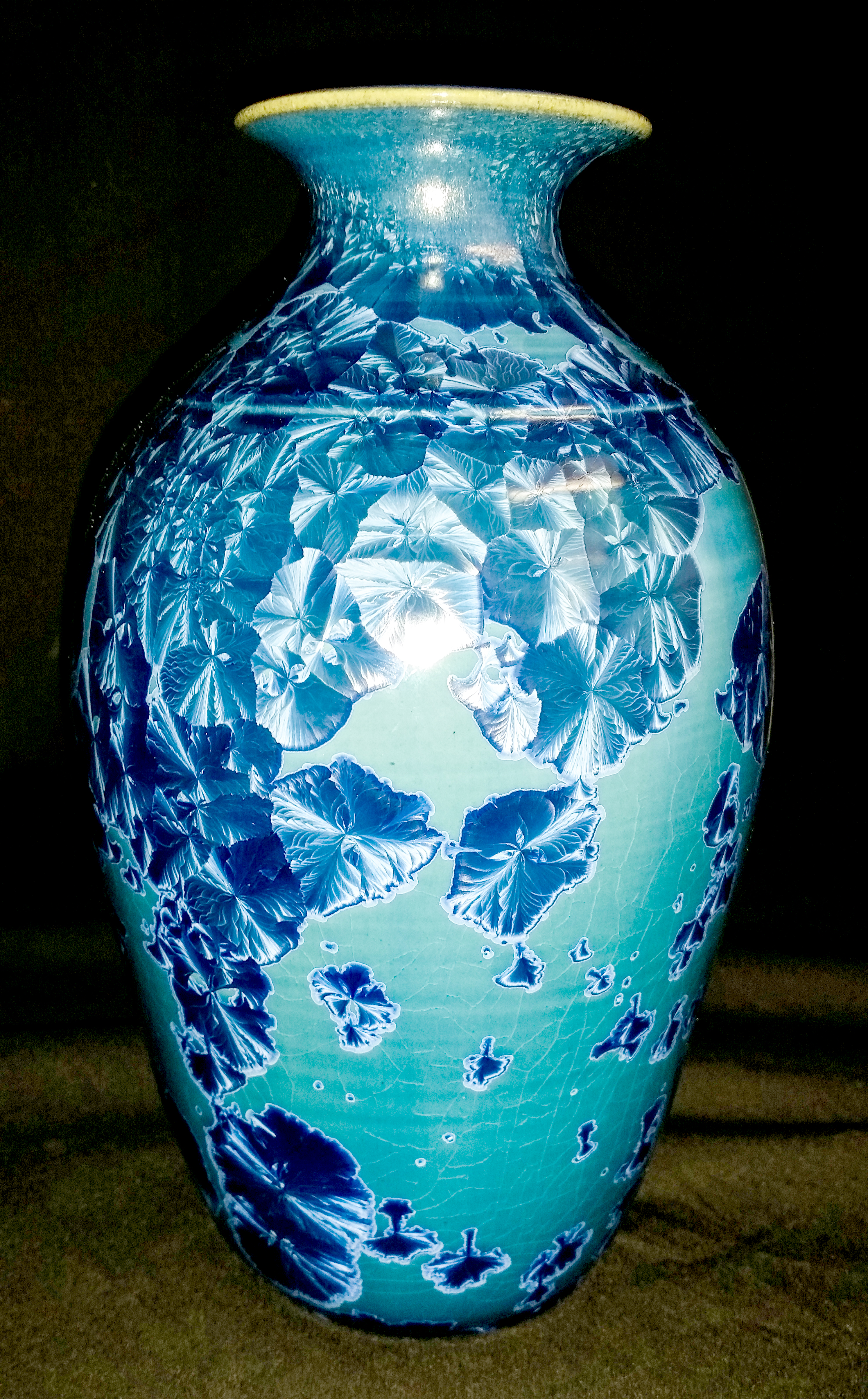 Light Blue Crystalline Vase
