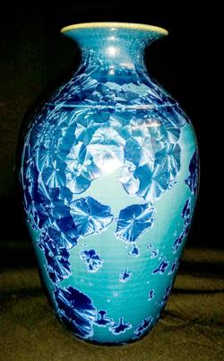 Light Blue Crystalline Vase