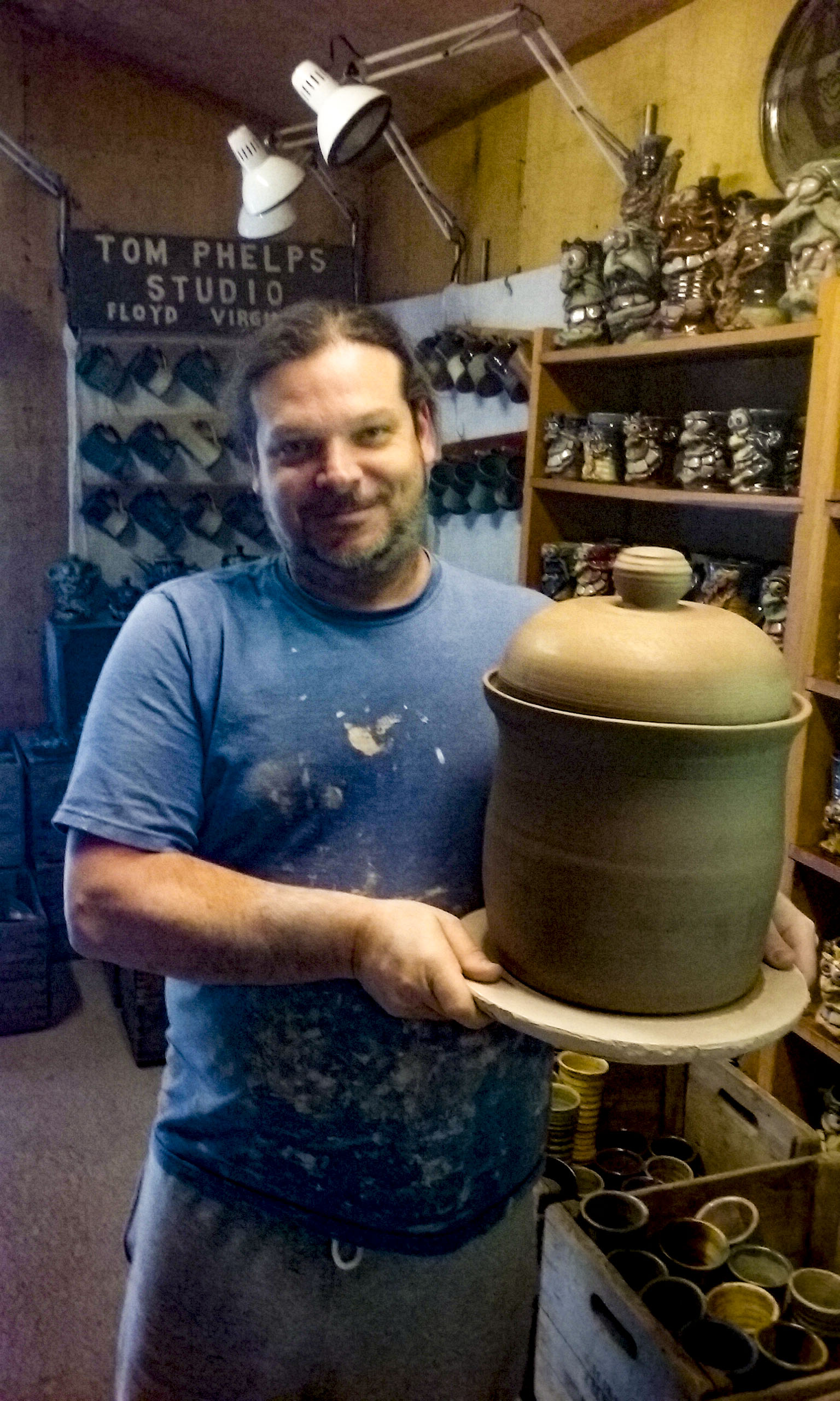 Holding Large Greenware Crock