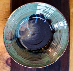 Bowl/Wall Hanging Black/Green 13 in.