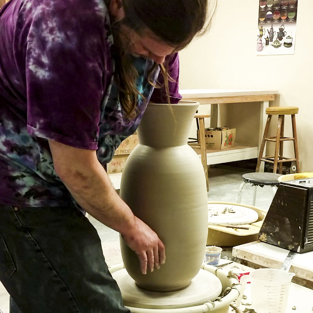 Throwing large vase