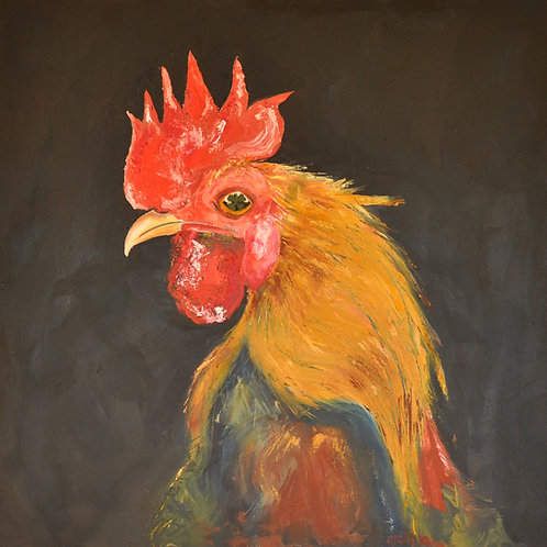 Jenny Beach -'What' from Year of the Roster - oil on canvas - 92x92 - $1200