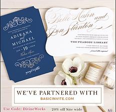 BasicInvite.com partnership with Divineworks Events & Weddings