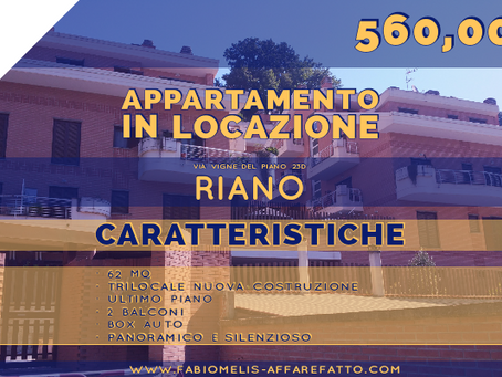 IN LOCAZIONE TRILOCALE - ULTIMO PIANO LUMINOSO - BOX-  ZONA RIANO