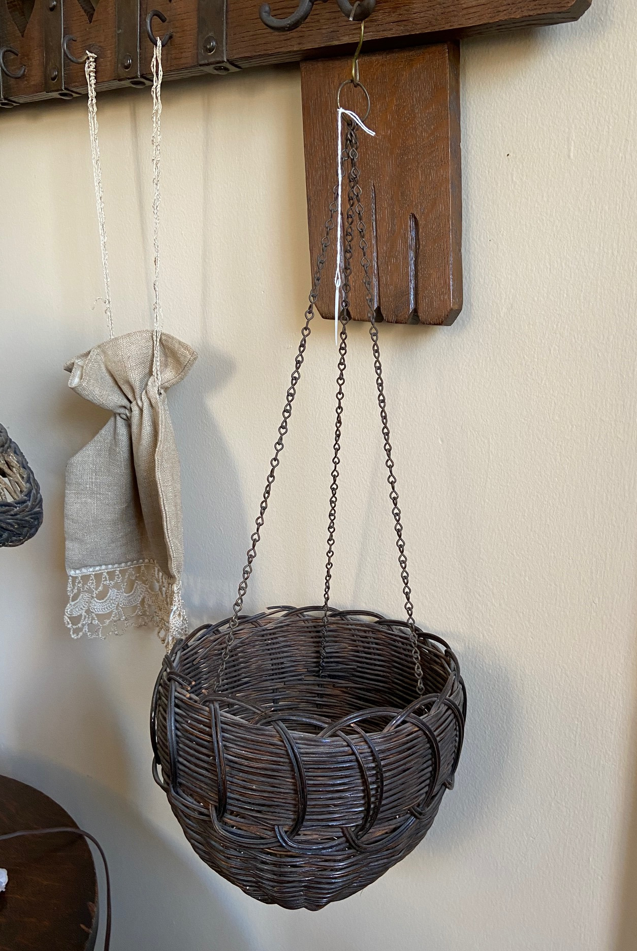 Wicker Hanging Basket and Ecru Bag