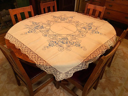 Blue Embroidered Tablecloth