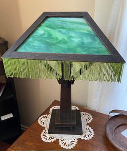 Green Slag Wooden Lamp