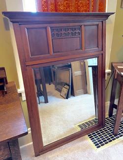 Oak Framed Beveled Mirror