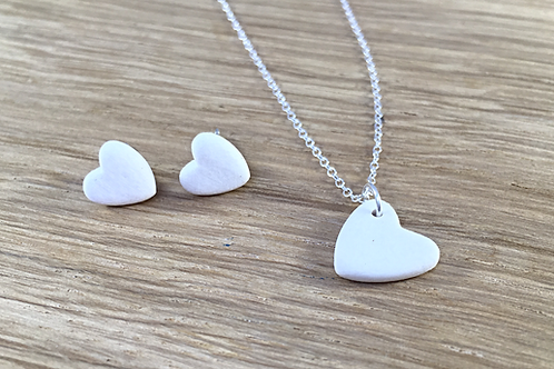 Ceramic Heart Necklace and Earrings.
