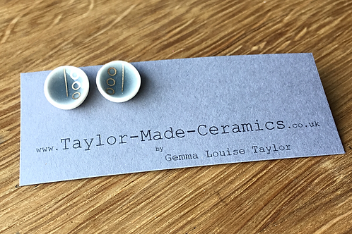 Ceramic Grey and Gold Earrings.