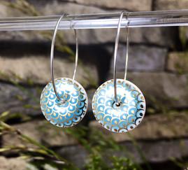 Hoop Light Blue and Gold Earrings