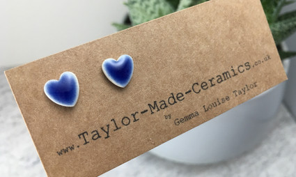 Blue Heart Porcelain Earrings