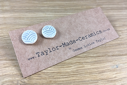 patterned pottery earrings