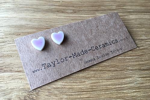 Ceramic Pink heart earrings