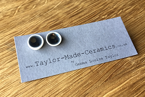 Ceramic Black and Silver decorated Earrings