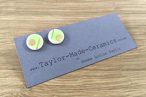 Ceramic Green and Gold decorated Earrings.