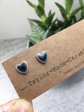 Black Heart Ceramic Earrings