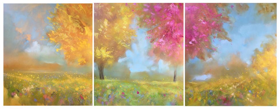 SOLD - Golden Light - Triptych