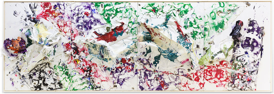 Four Seasons — Summer Volcanic Mountain Household paintsheets, acrylic, spray paint, egg, plastic carpet wrap and sterling silver 8 feet x 24 feet x 17 inches 2019
