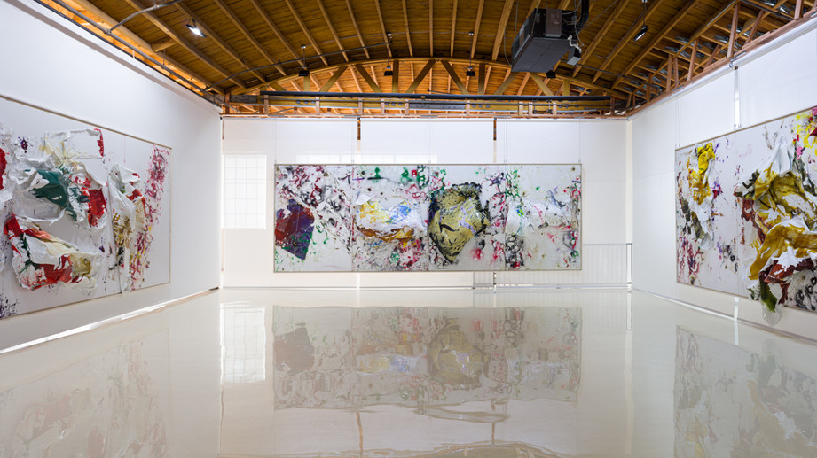 Four Seasons - Spring Rights of Ocean 2019 Household paintsheets, acrylic, spray paint, egg, plastic carpet wrap and sterling silver 8 feet x 24 feet x 17 inches 2019