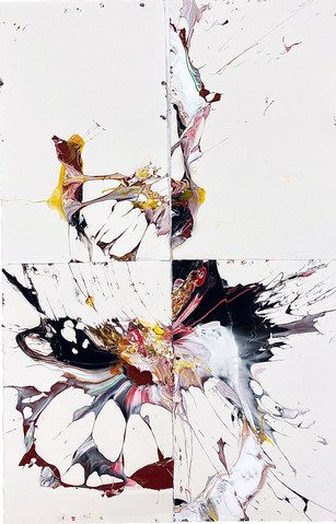 One Breath No.592 2020 acrylic paint,egg and gesso on arches paper 6 feet 8 inches x 4 feet 6 inches