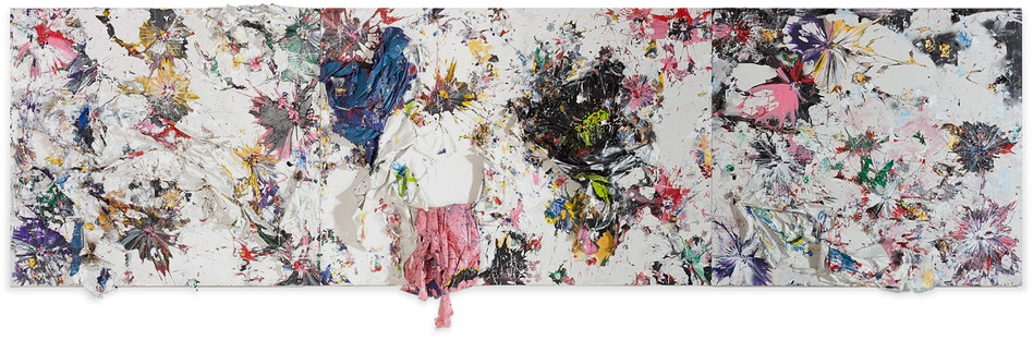 Pink Drop Household paint sheets, acrylic paint, and sterling silver on canvas 8 feet 6 inches × 28 feet x 14 inches deep