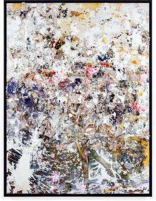 Silver Rain Handmade sterling silver sheets, trash, household paint, egg yolk preserved in resin, egg shell, assortment of plastics on canvas 8 × 6 feet