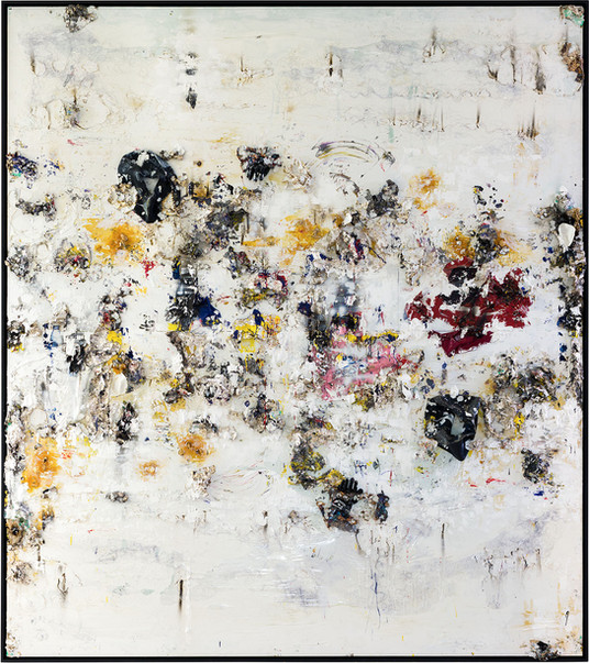 Asia's Island in the Sky, (Diptych) 2013-2014 Handmade sterling silver, trash, household paint, egg yolk preserved in resin, egg shell, assortment of plastics on canvas 13 feet 6 inches × 12 feet x 7 inches deep
