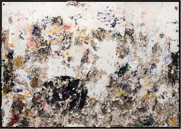Black Moon Rising 2013 Handmade sterling silver, trash, household paint, assortment of plastics on canvas 6 × 8 feet x 6 inches deep