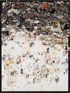 Phillips De Pury 2013 Handmade sterling silver, household paint, assortment of plastics on canvas 8 × 6 feet x 6 inches deep