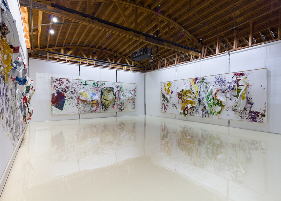 Four Seasons - Autumn Amazon is Burning 2019 Household paintsheets, acrylic, spray paint, egg, plastic carpet wrap and sterling silver 8 feet x 24 feet x 17 inches