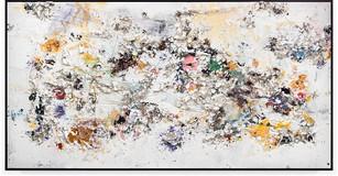 Purple Handmade sterling silver sheets, trash, household paint, egg yolk preserved in resin, egg shell, assortment of plastics on canvas 9 feet × 17 feet 6 inches