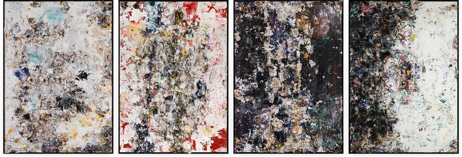 Four Seasons (Polyptuch) 2013-2014 Handmade sterling silver, trash, household paint, egg yolk preserved in resin, egg shell, assortment of plastics on canvas 12 feet × 8 feet (each) x 7 inches deep