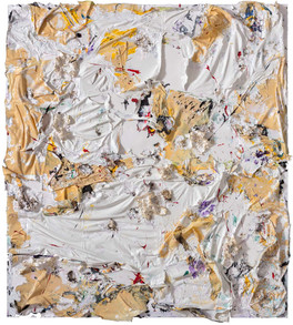 Untitled Household paint sheets, acrylic paint, and sterling silver on canvas 9 feet 6 inches × 8 feet 6 inches x 7 inches deep