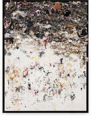Phillips De Pury 2013 Household paint with precious metals and trash 96 × 72 inches